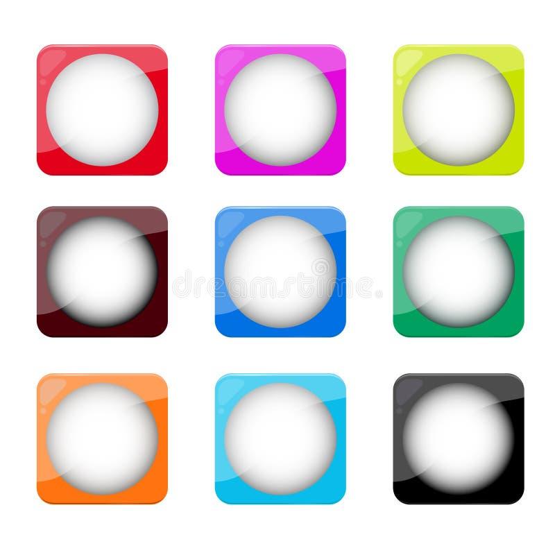 Set Aqua-/Metallartweb knöpft lizenzfreie abbildung