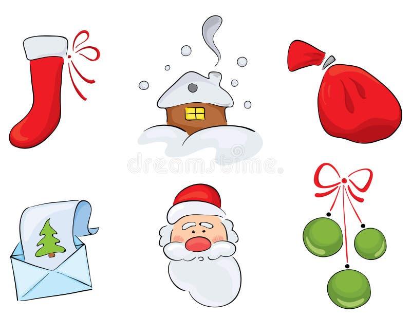 Set Aquarell Weihnachtszeichnungen lizenzfreie abbildung