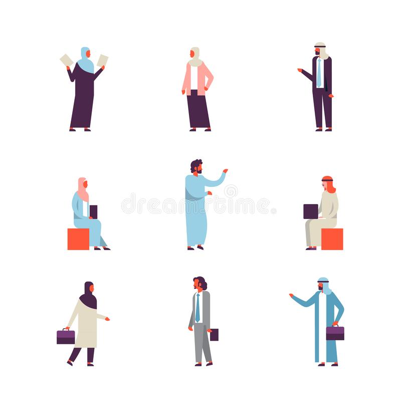 Set arab business people different clothes gestures concept man woman cartoon character silhouette collection full stock illustration