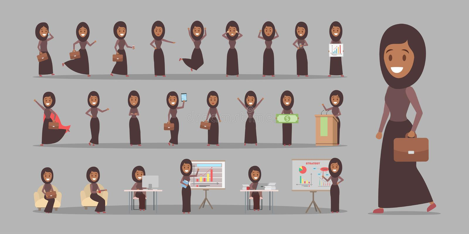 Set of arab business woman or office worker vector illustration