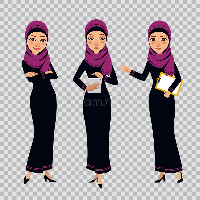 Arab business women characters in different poses on transparent background. Women with clipboard and tablet stock illustration