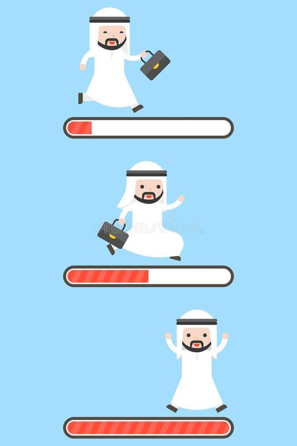 Set of Arab businessman running on loading bar, 3 progress steps. Start , downloading and complete, flat design stock illustration