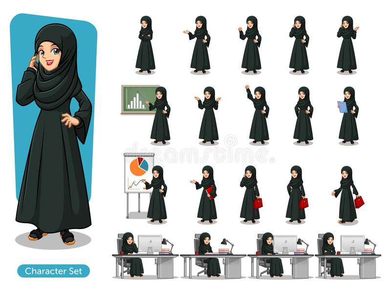 Set of Arab businesswoman in black dress cartoon character design royalty free illustration