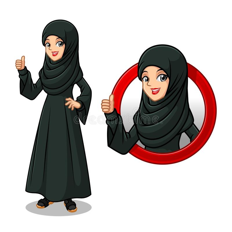 Set of Arab businesswoman in black dress inside the circle logo concept stock illustration