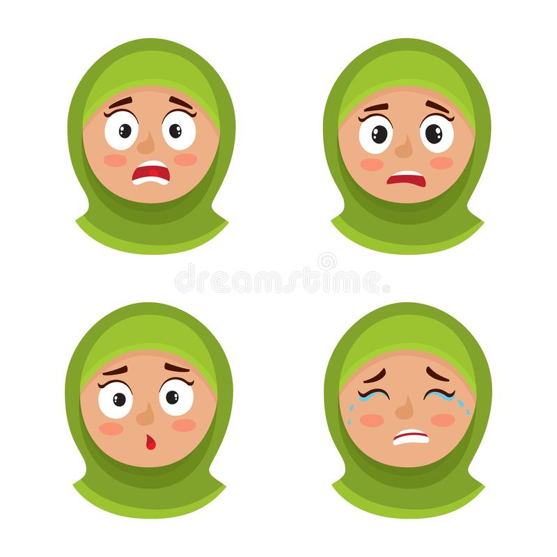 Set of arab girl with hijab scared face expression isolated on white royalty free illustration