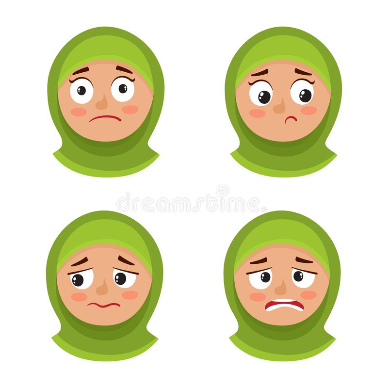 Set of arab girl with hijab upset face expression isolated on white. Little arab girl with hijab upset face expression, set of cartoon vector illustrations stock illustration