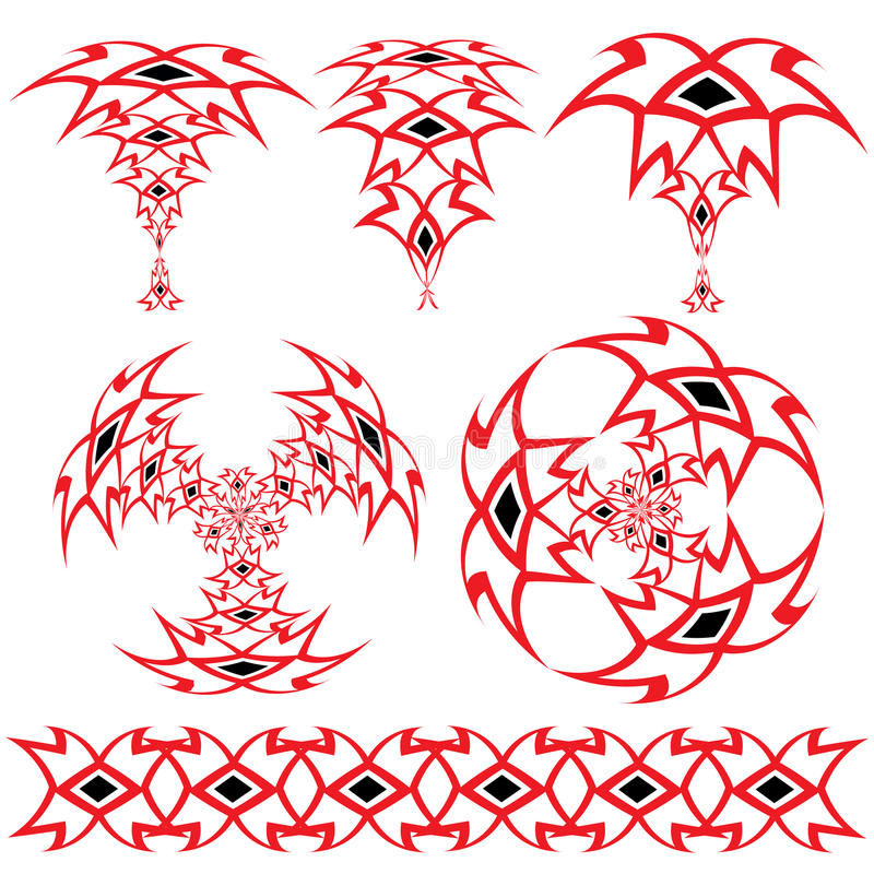 Set From The Arabian Ornaments Of Red And Black Co Stock Images