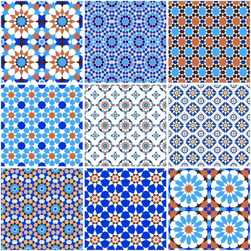 Set of arabic geometric patterns stock illustration
