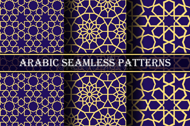 Set of 3 arabic patterns background. Geometric seamless muslim ornament backdrop. yellow on dark blue color palette vector illustration