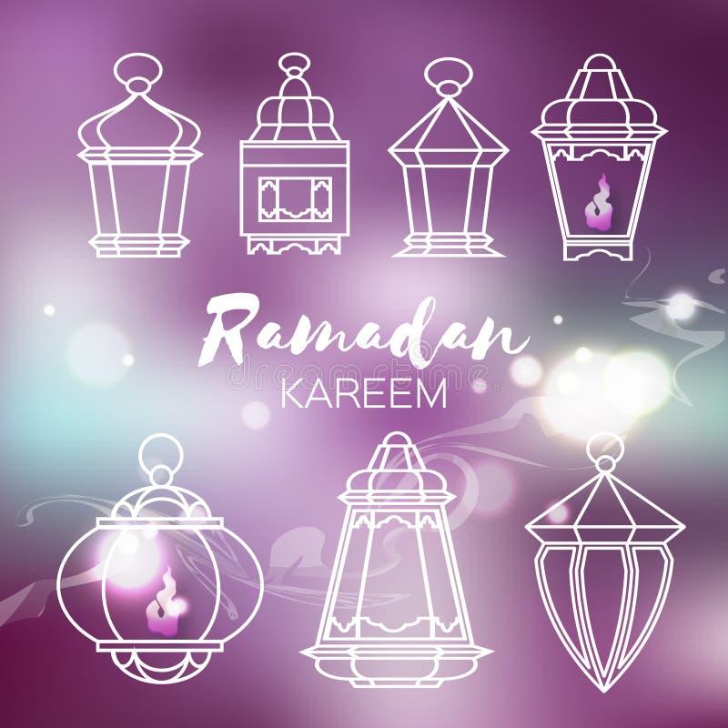 Set of arabic Ramadan lanterns. royalty free illustration