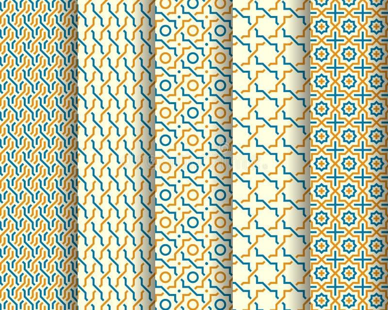 Set of Arabic seamless patterns royalty free illustration