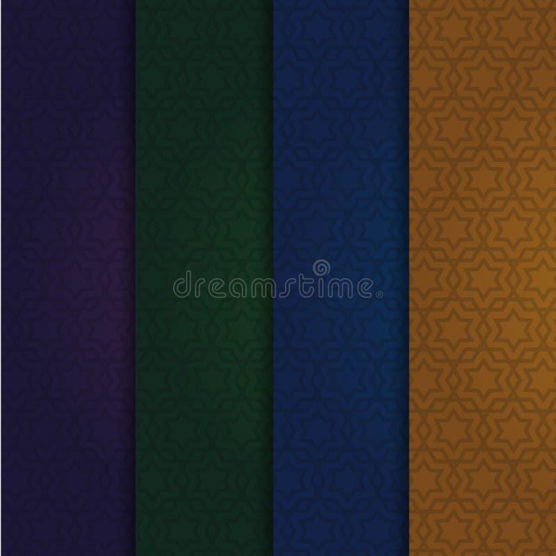 Set of the arabic vector patterns. Dark festive backgrounds. stock illustration