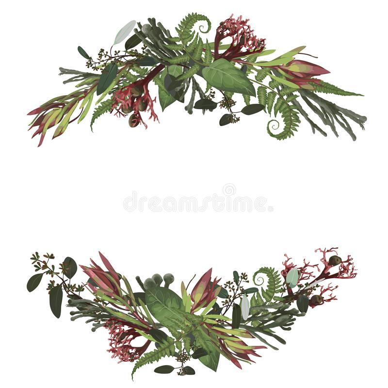 Set of arc, wreath. Greenery and leaves, branches, brunia, blooming eucalyptus, leucadendron, gaultheria, salal, jatropha.  Floral. Pastel style border.All royalty free illustration