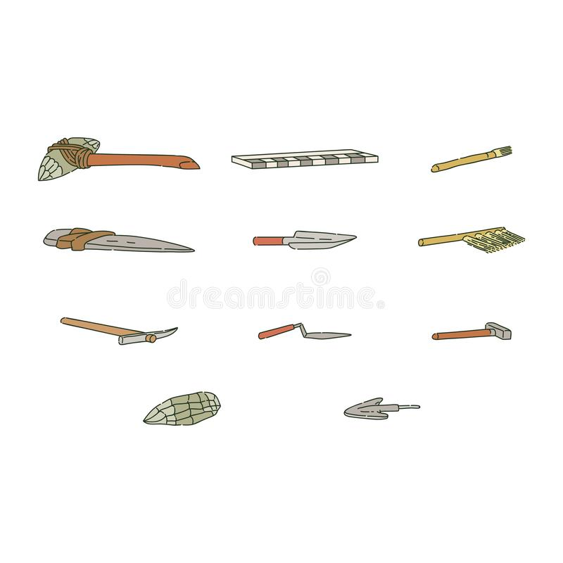 Set of archaeological equipment and tools of prehistoric man sketch style. Vector illustration isolated on white background. Tools of archaeologist and ancient vector illustration