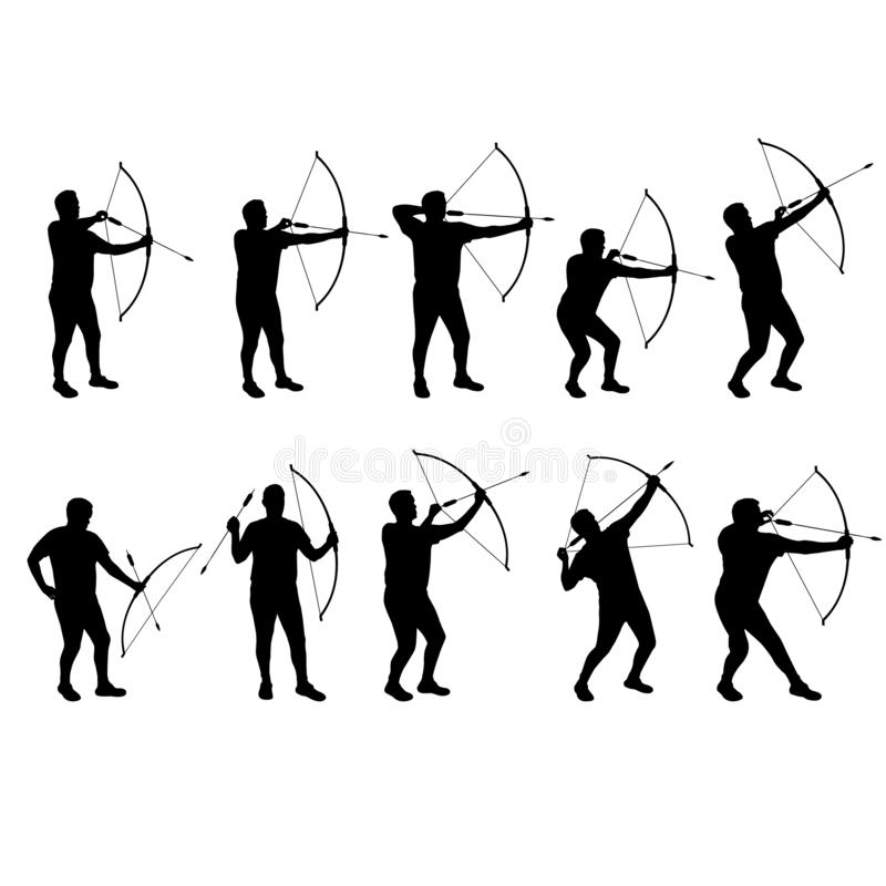 Set of archer vector silhouettes stock photo