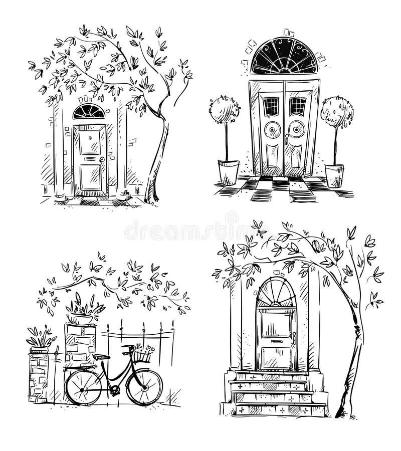 Set architektura szczegółów rysunki drzwi ilustracja wektor