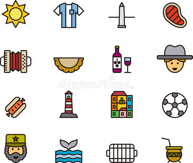 Set of Argentina related icons vector illustration
