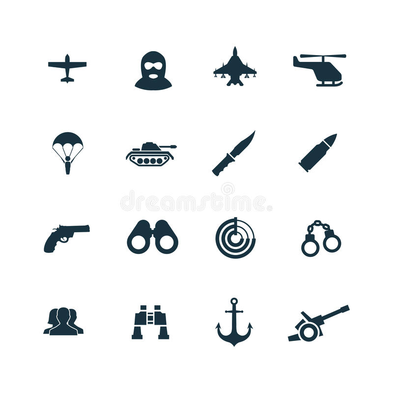 Set of army icons. On white background royalty free illustration