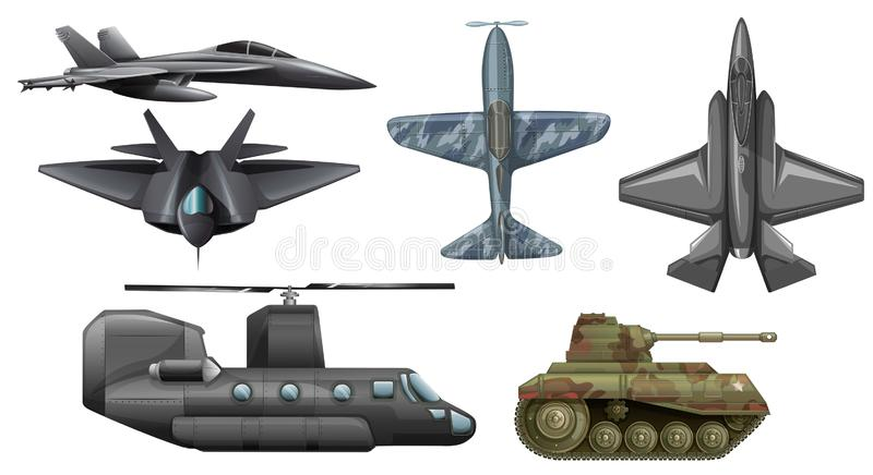 Set of army vehicles royalty free illustration