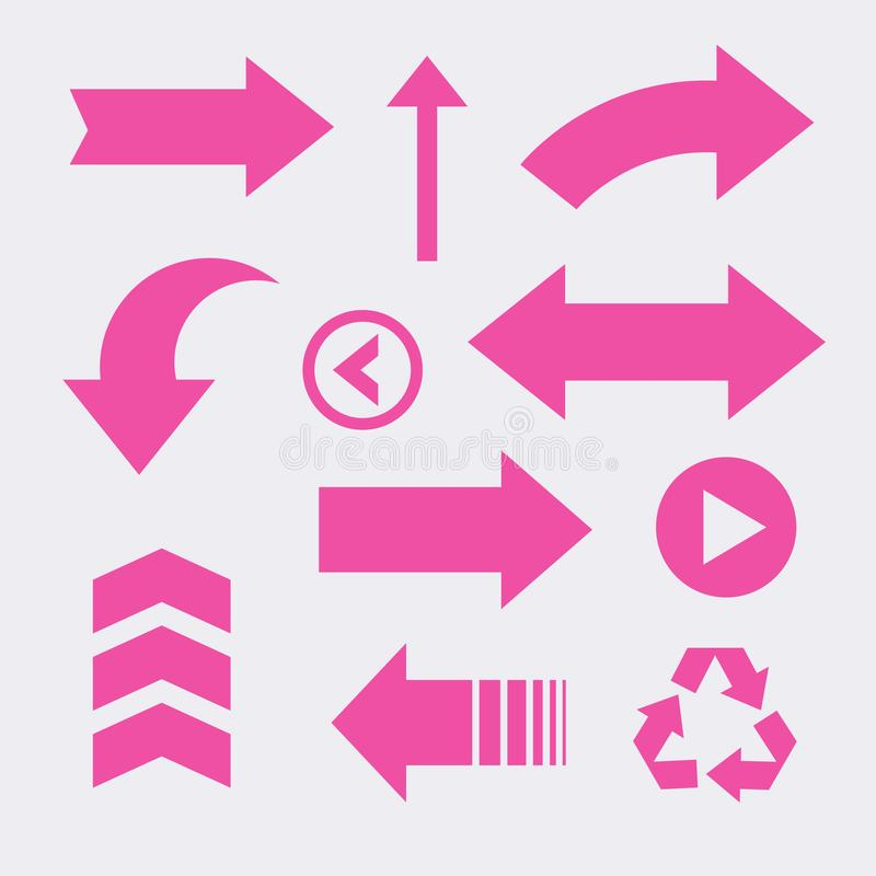Set Of Arrow Direction Set Vector Icon royalty free stock photography