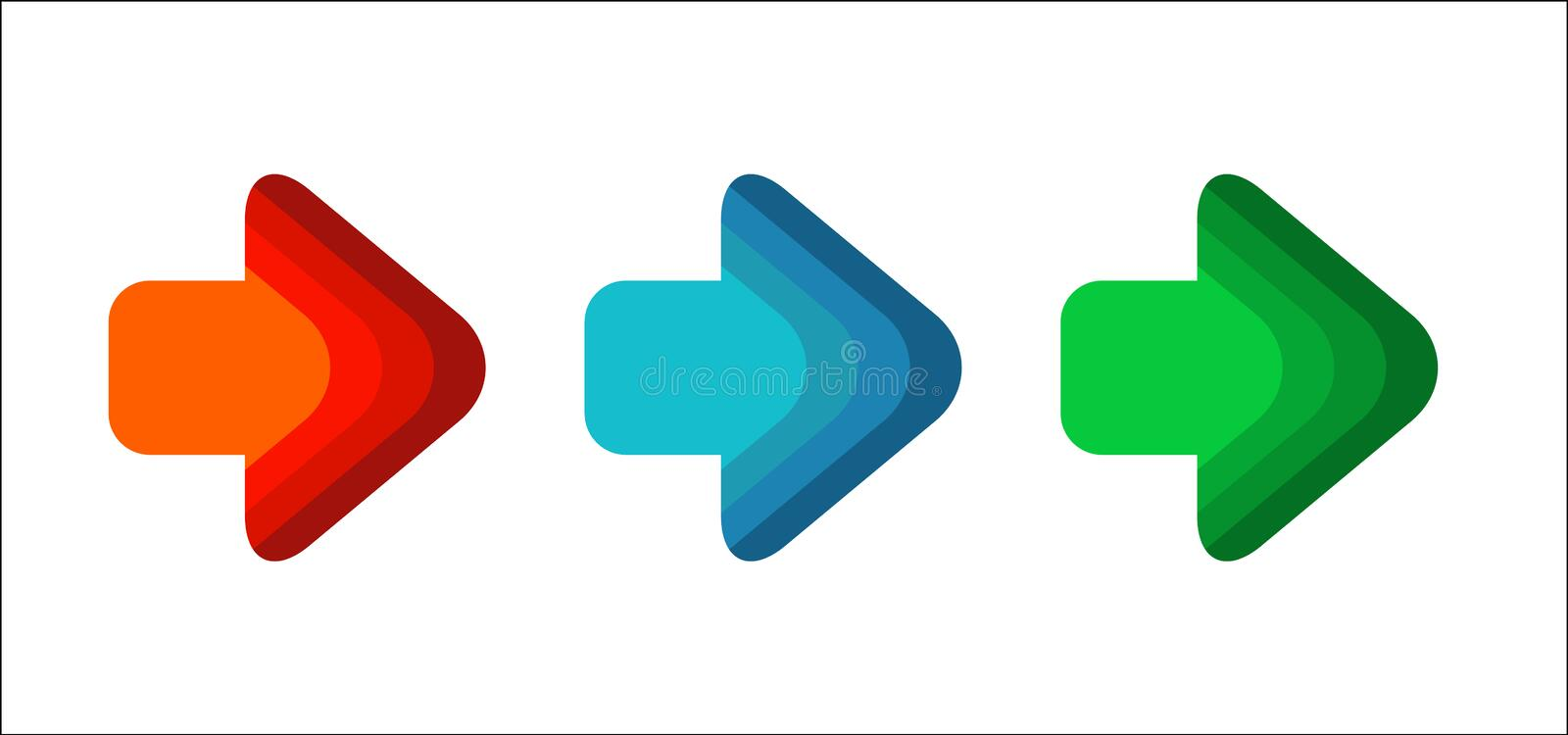 Set Arrow right line red green color blue round corner royalty free illustration