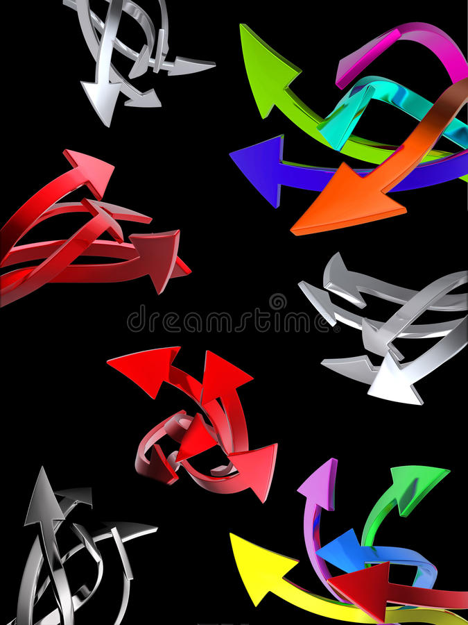 Set of arrows on black stock illustration