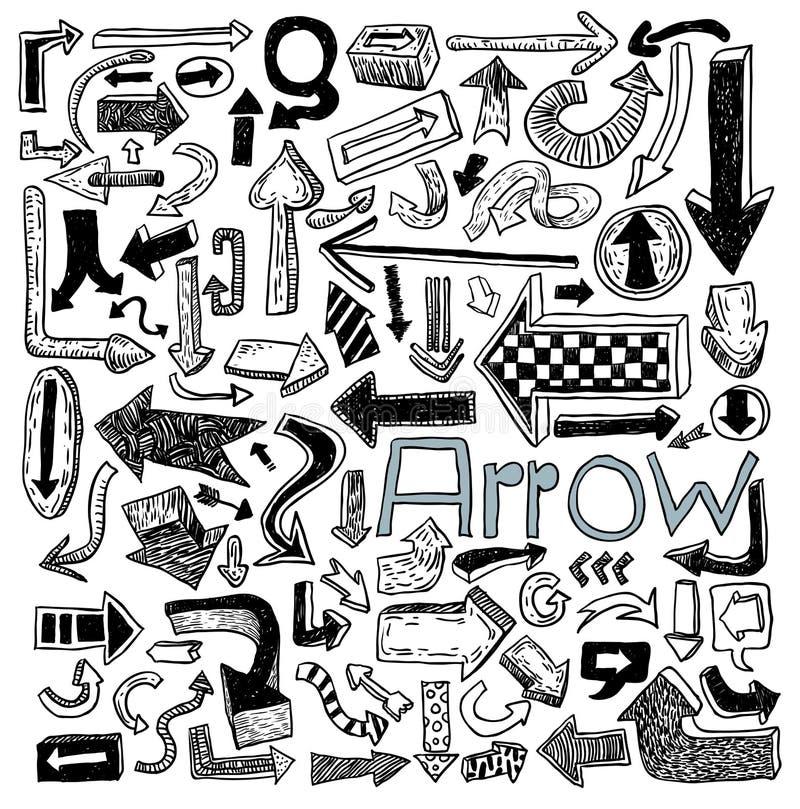 Set of arrows, hand drawn vector illustration royalty free illustration