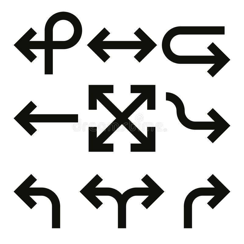 Set of arrows. Simple thick black line arrow design. Flat vector icons royalty free illustration
