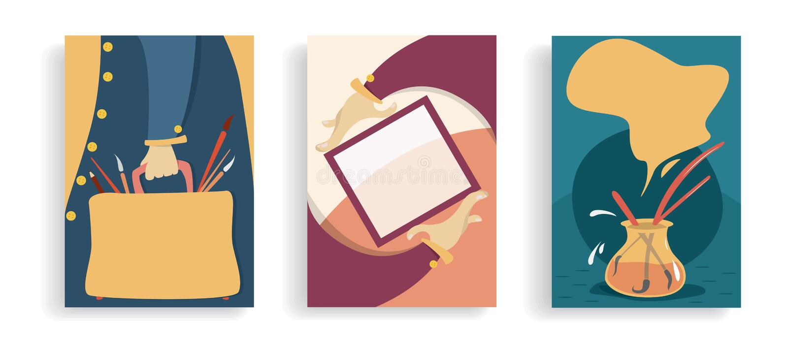 Set of art banners. Exhibition, art lessons ,market . concept . Cartoon hands with frame, bag with brushes and artists . Colourful royalty free illustration