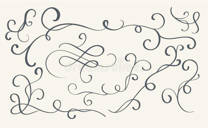 Set of art calligraphy flourish vintage decorative whorls for design. Vector illustration EPS10 royalty free illustration