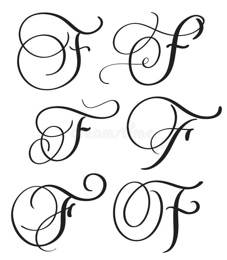 Download Set Of Art Calligraphy Letter F With Flourish Vintage Decorative Whorls Vector Illustration