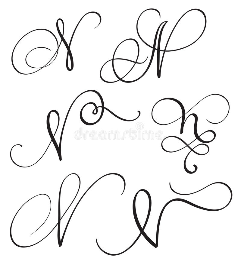 Download Set Of Art Calligraphy Letter N With Flourish Vintage Decorative Whorls Vector Illustration