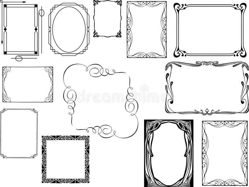 Set of art deco frames stock photography
