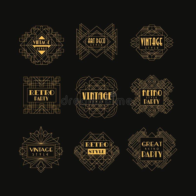 Set art deco odznaki Dekoracyjne złote ramy w rocznika stylu Luksusowi liniowi emblematy Wektorowy projekt dla hotelowego loga royalty ilustracja