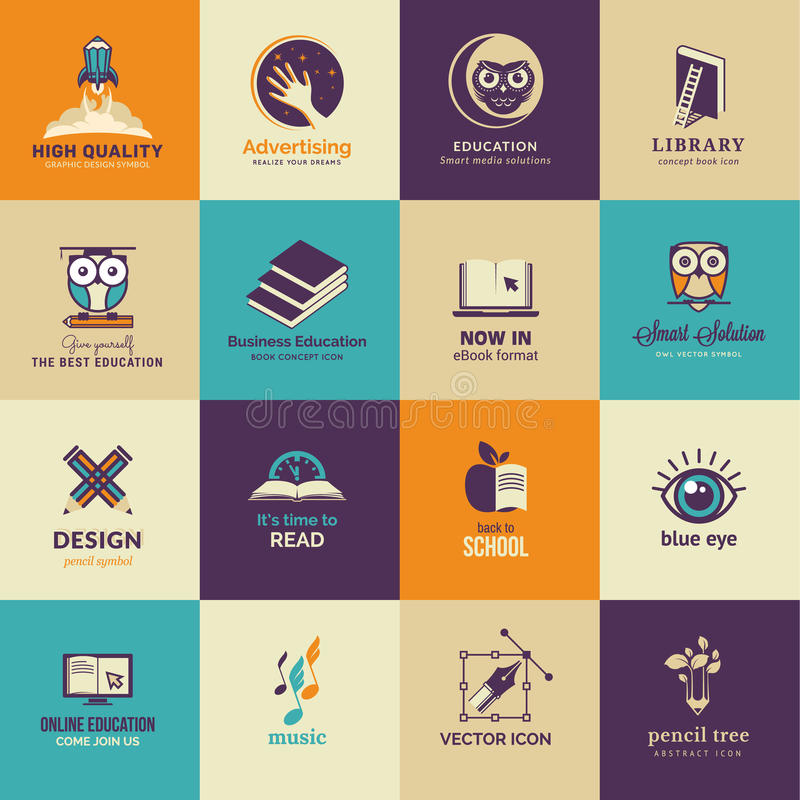 Set of art and education icons. Set of vector icons for art and education vector illustration