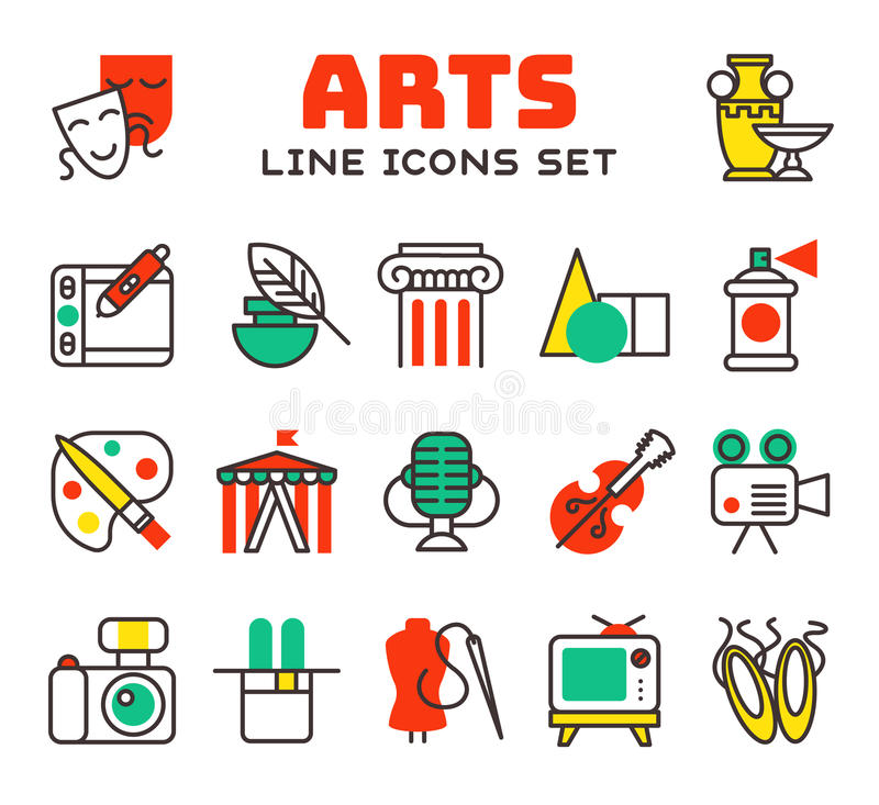 Set of art icons in flat design camera picture brush palette entertainment symbols and artist ink graphic color royalty free illustration