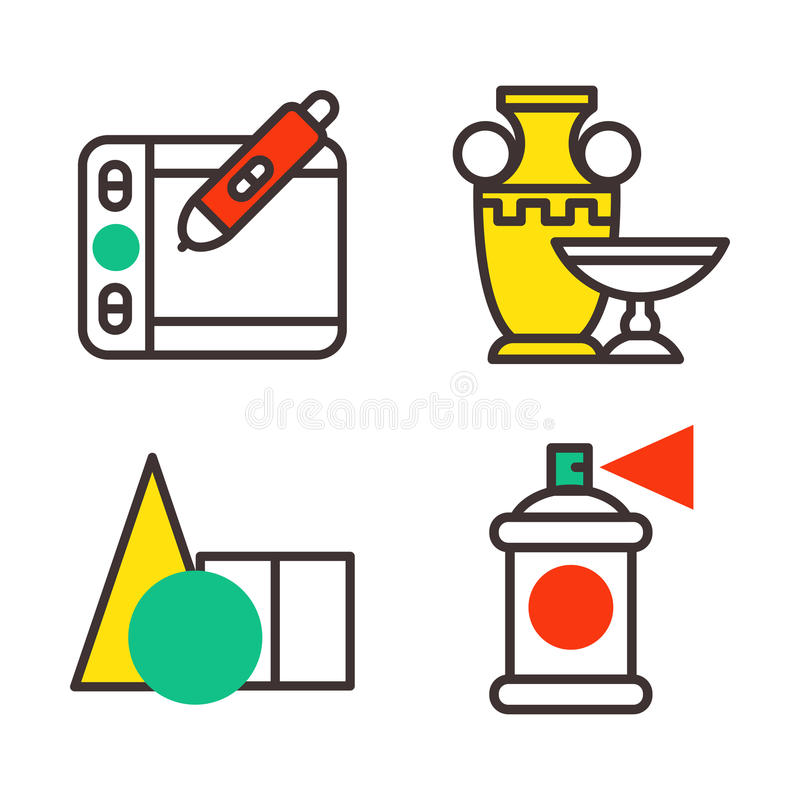 Set of art icons in flat design camera picture brush palette entertainment symbols and artist ink graphic color. Creativity movie collection vector illustration vector illustration
