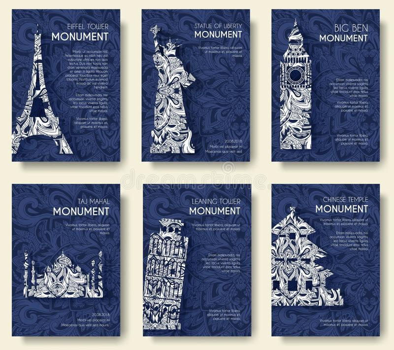 Set of art ornamental travel and architecture on ethnic floral style flyers. Historical monuments of France, England vector illustration