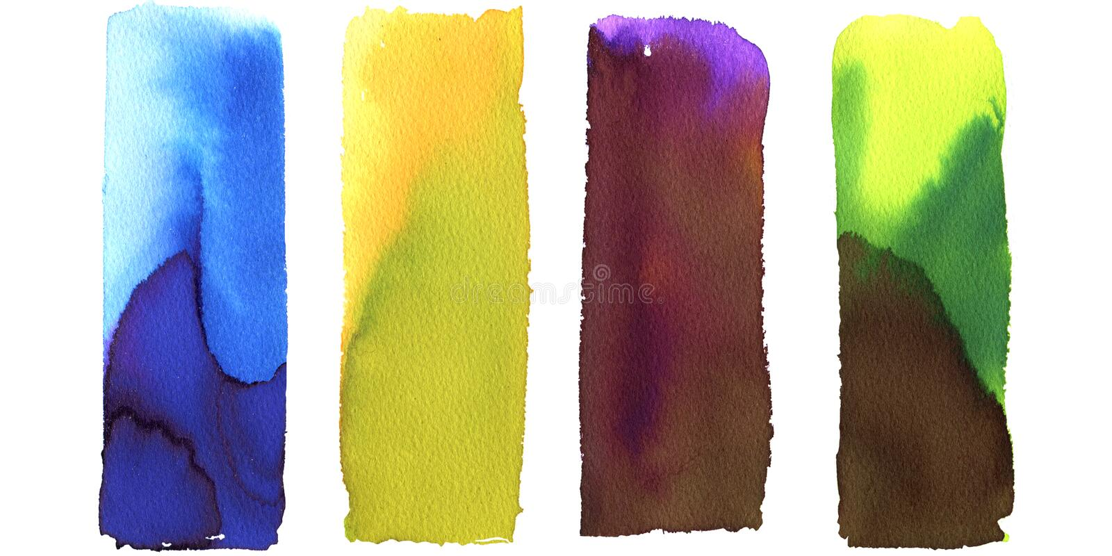 Set of art painted abstract backgrounds, gradient rectangles, blue, yellow, green, violet. Multicolor design, banner stock illustration