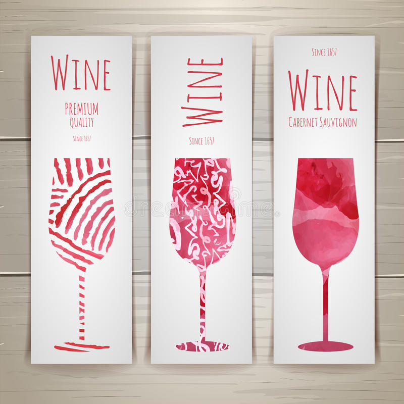 Set of art wine banners and labels vector illustration