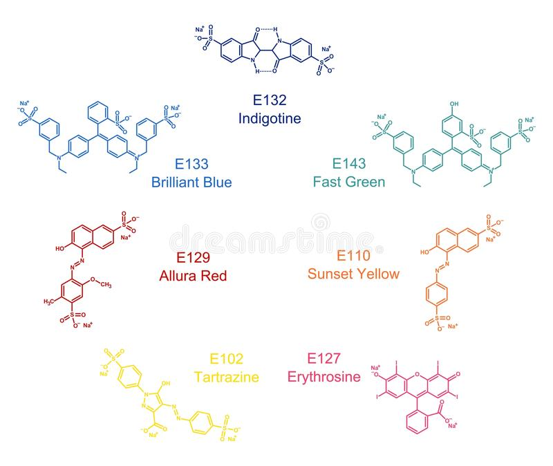 Set of artificial food dyes structures royalty free illustration