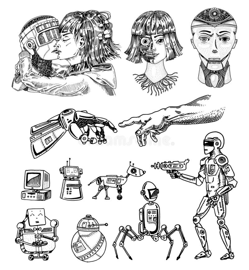 Set of Artificial intelligence concept. Robots evolution and Hand touch. Woman and man kiss. Replicant or Android. Hand stock illustration