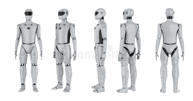 Set of artificial intelligence cyborgs or robots. 3d rendering set of artificial intelligence cyborgs or robots isolated on white royalty free illustration
