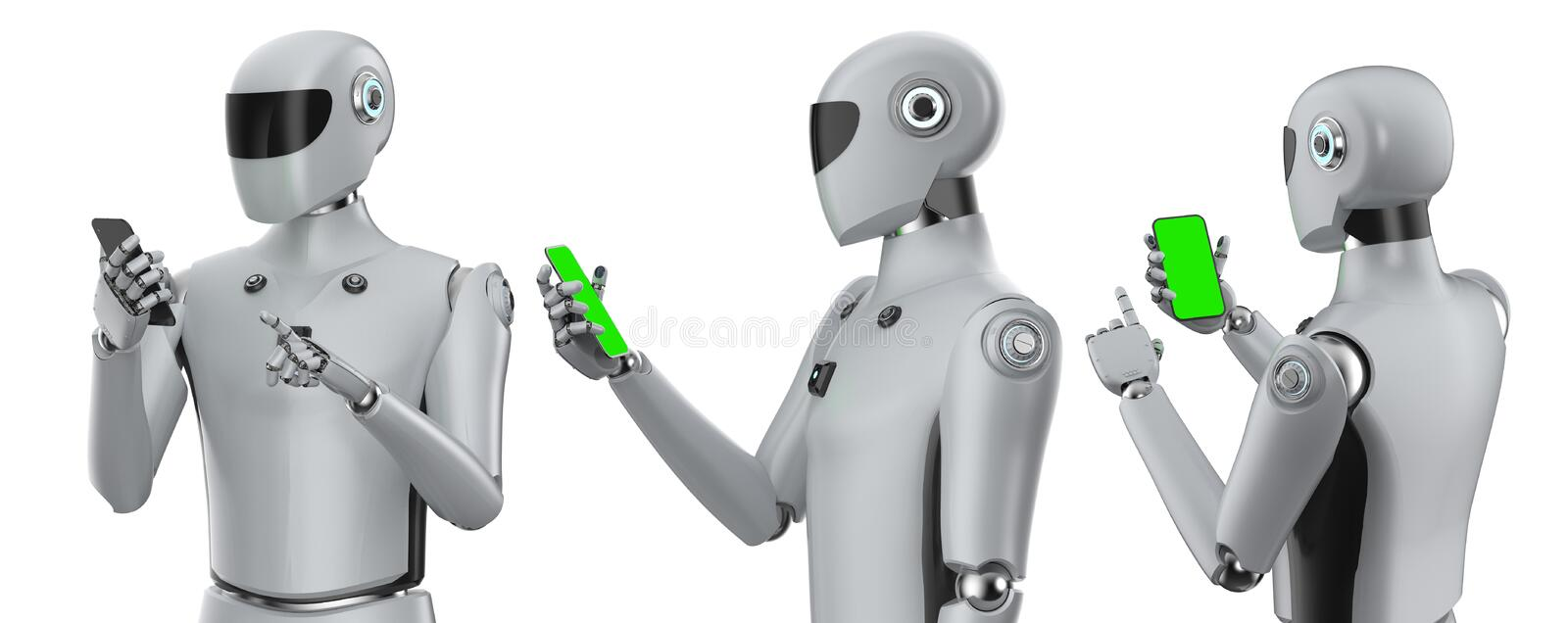 Set of artificial intelligence cyborgs or robots with mobile phone. 3d rendering set of artificial intelligence cyborgs or robots with blank screen mobile phone stock illustration