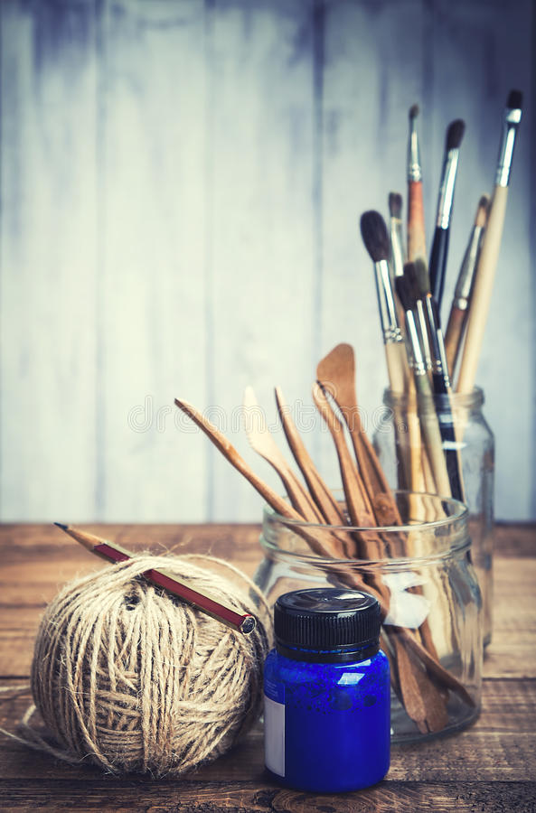 Set of artist's tools royalty free stock photography