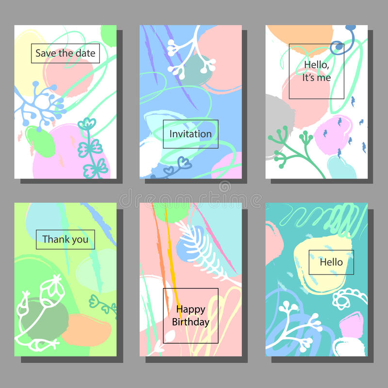 Set of artistic colorful universal cards. Brush textures. Brush textures. Memphis style. vector illustration