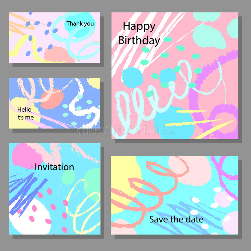 Set of artistic colorful universal cards. Brush textures. Set of artistic colorful universal cards. Design for poster, card, invitation vector illustration