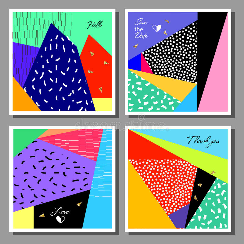 Set of artistic colorful universal cards. Wedding, anniversary, birthday. Design for poster, card, invitation royalty free illustration