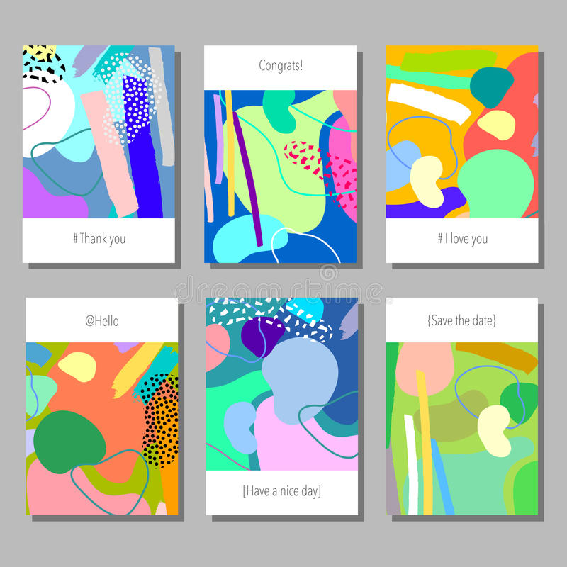 Set of artistic colorful universal cards. Wedding, anniversary, birthday, holiday, party. Design for poster, card, invitation. Set of artistic colorful universal stock illustration