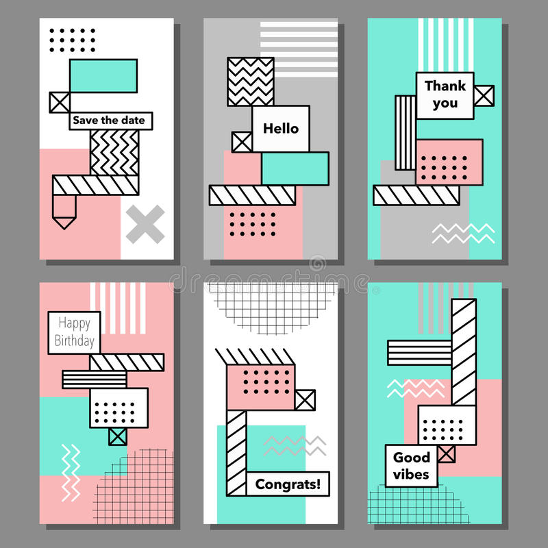 Set of artistic colorful universal cards. Wedding, anniversary, birthday, holiday, party stock illustration